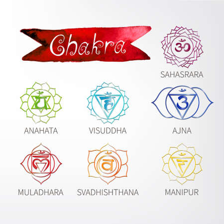 Chakra. Energy centers of the human. Icons. Handwriting. Aged paper. Texture. (watercolor) Vector