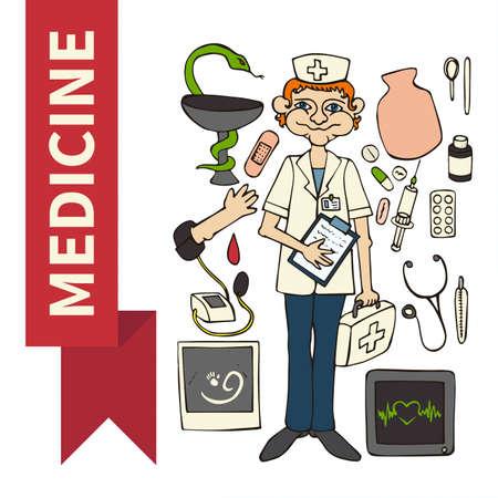 pediatrician: Doodle set Medicine (Doctor pediatrician)