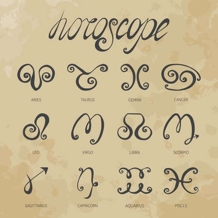 horoscope doodle icons set (stylization curls) vintage Vector