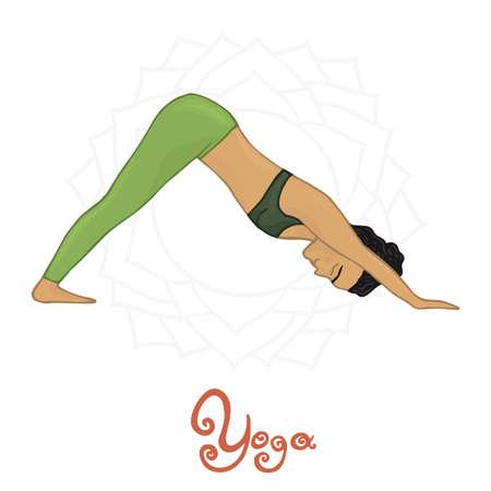hatha: Womens Yoga Adho Mukha Shvanasana (Hatha Yoga) Illustration