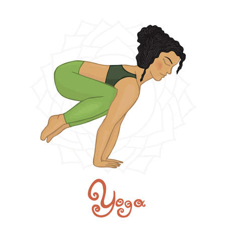 hatha: Womens Yoga Bkasana (Hatha yoga) Illustration