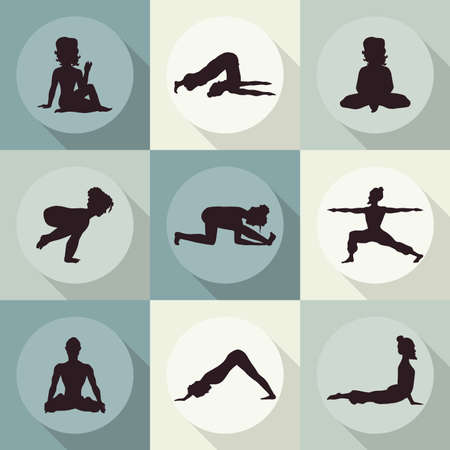 samadhi: yoga icons (Doodle set) color - position, asana