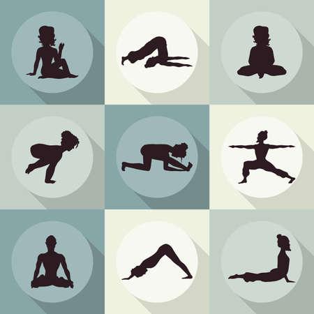yoga icons (Doodle set) color - position, asana