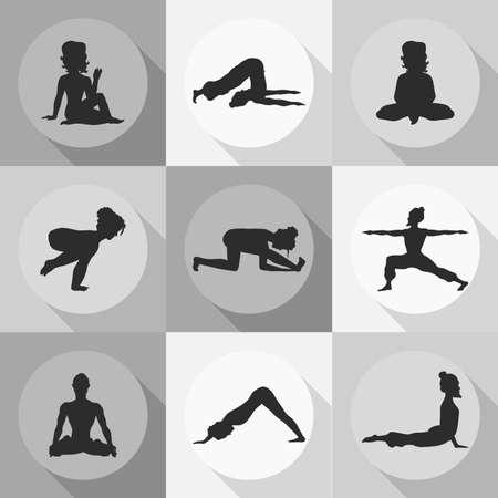 yoga icons (Doodle set) grayscale - position, asana