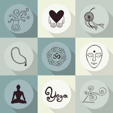 yoga icons (Doodle set) items Vector