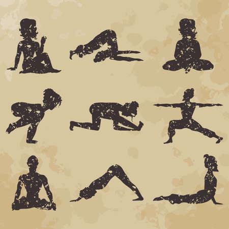 yoga icons (Doodle set) position, asana (vintage) Illustration