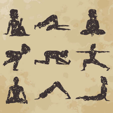 asana: yoga icons (Doodle set) position, asana (vintage) Illustration