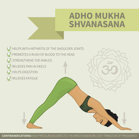 Yoga infographics. Adho Mukha Shvanasana Illustration