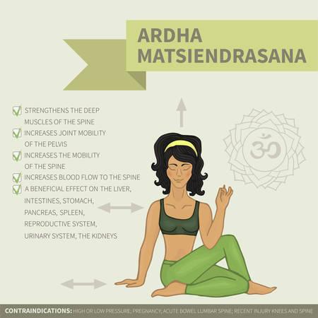 ardha: Yoga infographics. Ardha Matsiendrasana Illustration
