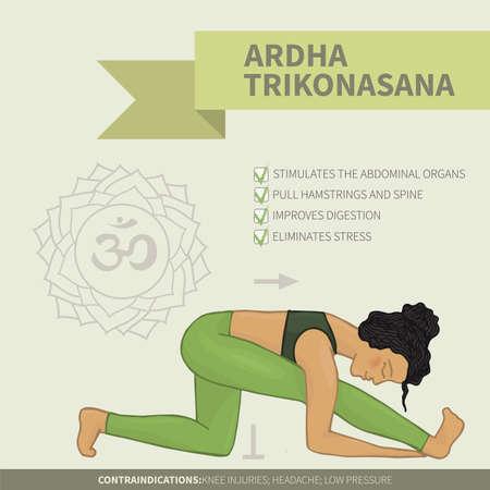 hatha: Yoga infographics. Ardha Trikonasana (Hatha yoga)