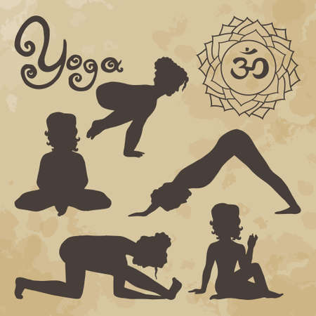 samadhi: yoga pose silhouette asanas (part 2) vintage Illustration