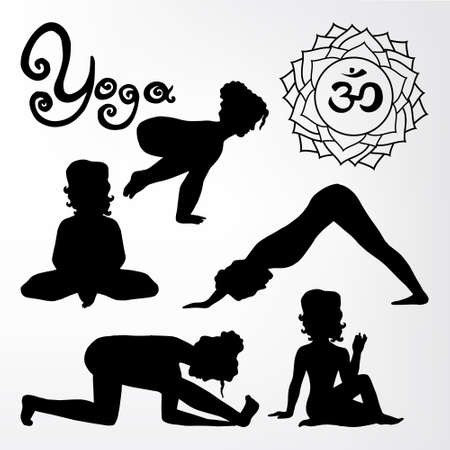 samadhi: yoga pose silhouette asanas (part 2) Illustration