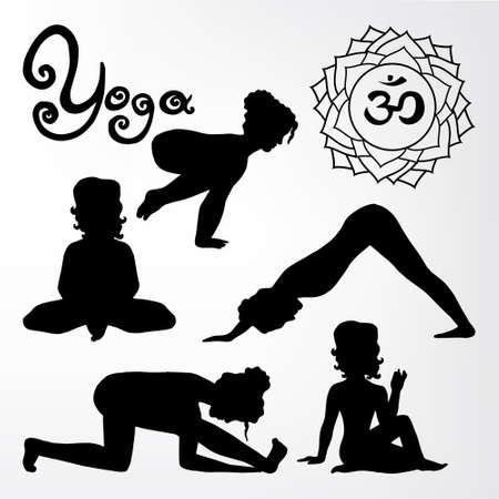 flex: yoga pose silhouette asanas (part 2) Illustration