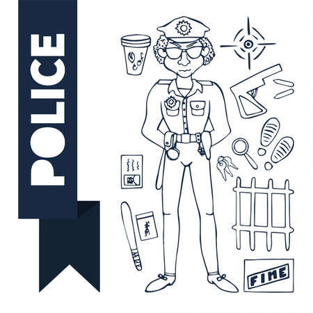 Doodle set Police (12 items) Vector