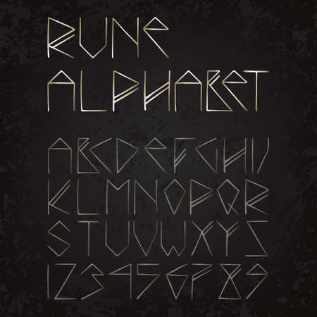 golden rune alphabet (texture, grunge) Vector