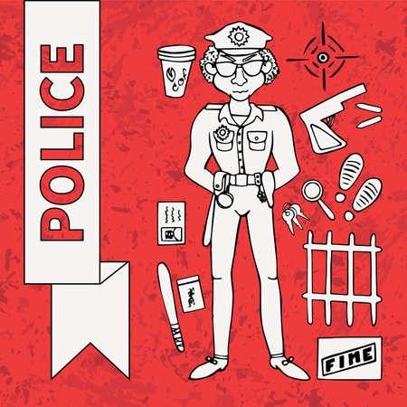 burglar proof: Police Doodle Set (12 items) Illustration