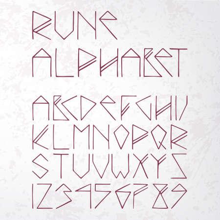 rune alphabet on aged paper (texture) Vector