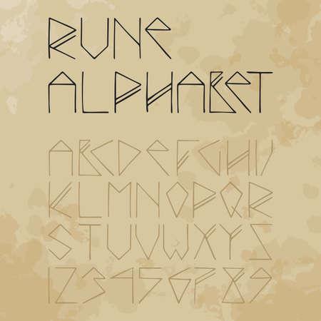 rune alphabet on aged paper (vintage) Vector
