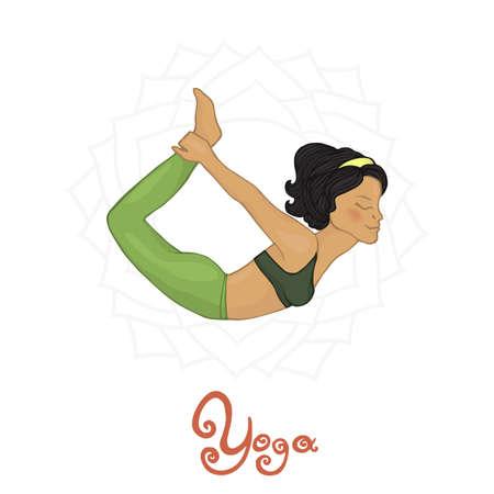 dhanurasana: Womens Yoga Dhanurasana (Hatha yoga) Illustration