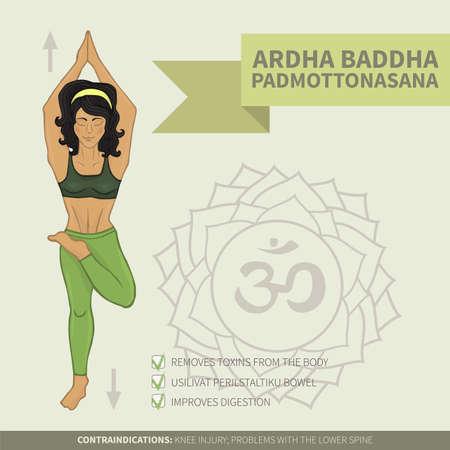 hatha: Yoga infographics Ardha baddha padmottanasana (hatha yoga)