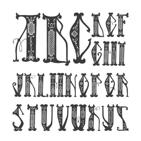 slavic: alphabet initial (handwritten capital letters) Slavic style (black and white)