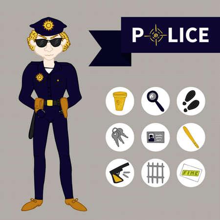burglar proof: Doodle set Police (9 icons)