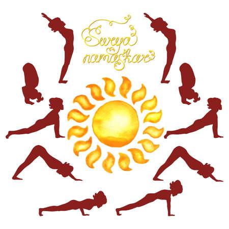 Surya Namaskar (Hatha Yoga) watercolor sun (silhouette) Illustration
