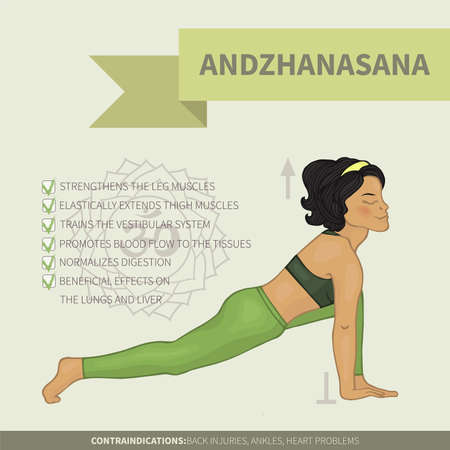 Yoga infographics Andzhanasana (Hatha yoga)