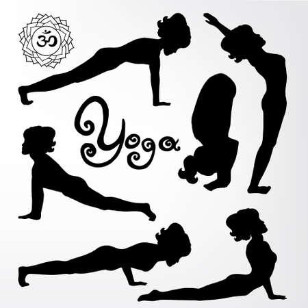 samadhi: yoga pose silhouette asanas.