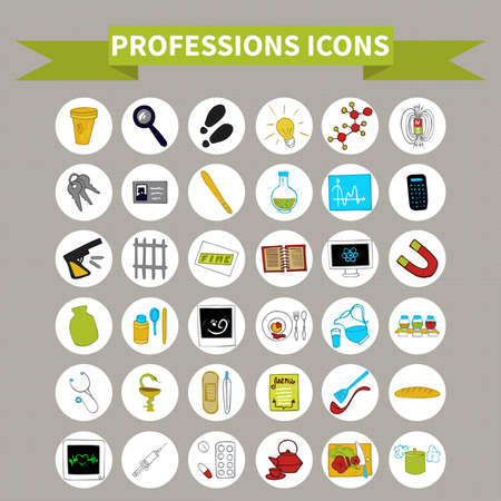 Doodle set icons profession (36 items) color Vector