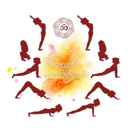Surya Namaskar (Hatha Yoga) watercolor (silhouette) Illustration