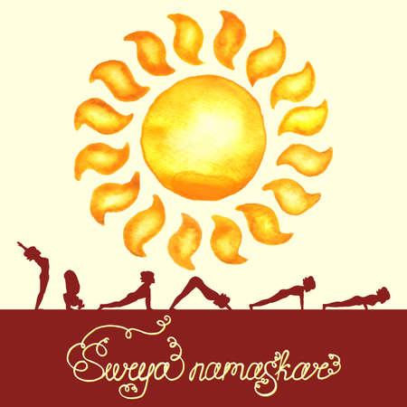 Surya Namaskar (Hatha Yoga) watercolor sun (silhouette pose)