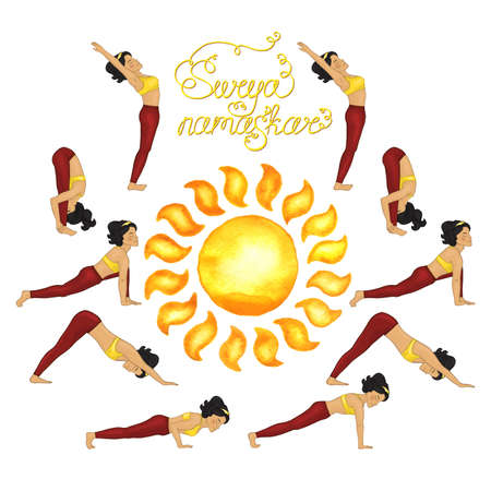 Surya Namaskar (Hatha Yoga) watercolor sun