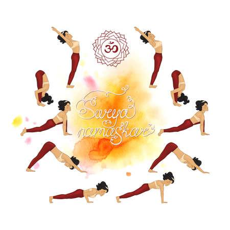 Surya Namaskar (Hatha Yoga) watercolor