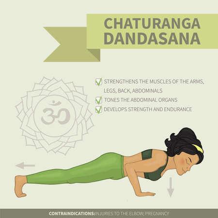hatha: Yoga infographics Chaturanga dandasana (Hatha yoga)