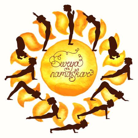 Complex asanas Surya Namaskar (Hatha Yoga) silhouette (sun) Illustration