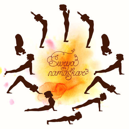 Complex asanas Surya Namaskar (Hatha Yoga) silhouette