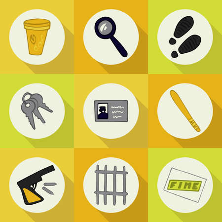 burglar proof: Doodle set of icons profession (police) Illustration
