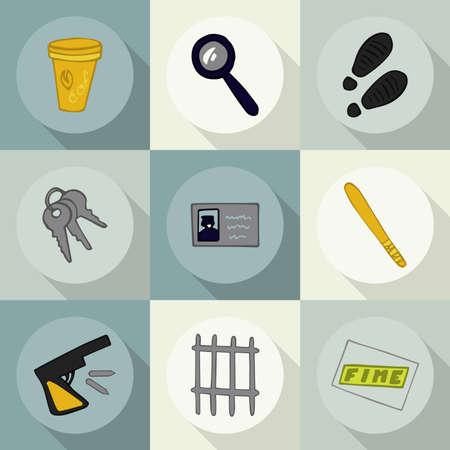 burglar proof: Doodle set of icons profession (police)1.2 Illustration