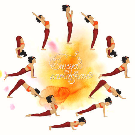 Surya namaskar complex asanas (Hatha Yoga) watercolor