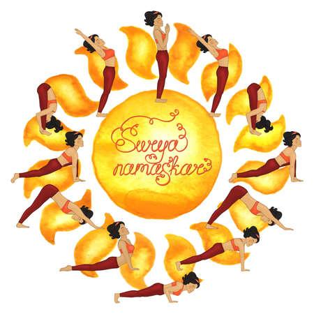 Surya namaskar complex asanas (Hatha Yoga) Illustration