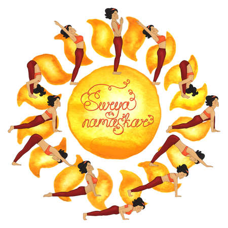 hatha: Surya namaskar complex asanas (Hatha Yoga) Illustration