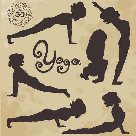 yoga pose silhouette asanas (part 3) (age paper) Illustration