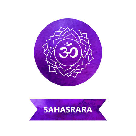 energy centers (watercolor). yoga. Sahasrara chakra