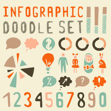 Elements for infographics (Doodle set) vintage Vector
