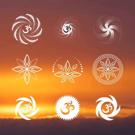 yoga sunset: Yoga (background sunset sky) Illustration