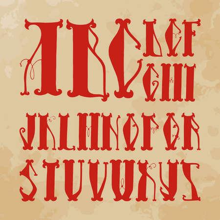 slavic: alfabeto iniziale (lettere maiuscole scritte a mano) in stile slavo (rosso, vecchia carta)