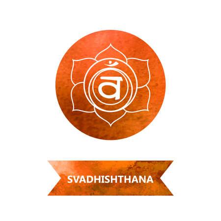 sanskrit: energy centers (watercolor). yoga. Svadhishthana chakra
