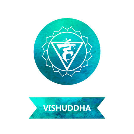 energy centers (watercolor). yoga. Vishuddha chakra Vector