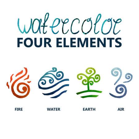 cuatro elementos de la acuarela (fuego, agua, tierra, aire)